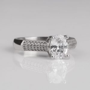Silver solitaire ring for women